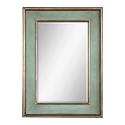 """Uttermost - Uttermost Ogden Antique Light Blue Mirror 12640 B - This wood frame features a hand rubbed sky blue finish with ivory undertones and lightly antiqued silver leaf details give the appearance of a blue green finish. Mirror has a generous 1 1/4"""" bevel. May be hung horizontal or vertical."""