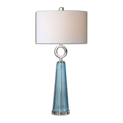 Uttermost - Uttermost Navier Blue Glass Table Lamp 27698-1 - Seeded blue glass with a ribbed texture accented with polished nickel plated details. The round hardback shade is a white linen fabric.