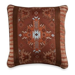 Veratex, Inc./bedding Div. - Pueblo 18-Inch Square Toss Pillow - Southwestern inspiration. Rich shades of brown, orange and brick red are accented with turquoise on Pueblo, a soft chenille comforter set from Veratex bedding to transform your bedroom into a rustic, southwest inspired retreat.