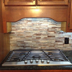 Floreste Verde Granite & Glass Mosaic Backsplash -