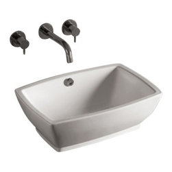 Whitehaus Collection - Whitehaus WHKN1065 Ceramic Rectangular Above Mount Bathroom Basin Sink - Whitehaus Collection bathroom sinks are modern sleek and stylish. A great option for anyone that wants a unique and eye catching bathroom design!