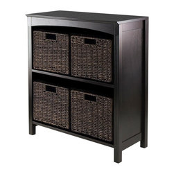 Winsome Wood - 30 in. 3-Tier Storage Unit - Includes four small baskets. Perfect to use alone or pair with baskets and create a place for goodies. Made from solid, composite wood. Dark espresso finish. Assembly required. Upper shelf: 23.54 in. W x 10.63 in. D x 12.80 in. H. Lower shelf: 12.32 in. H. Basket: 11.02 in. W x 10.24 in. D x 9.06 in. H. Overall: 25.98 in. W x 11.81 in. D x 30 in. H