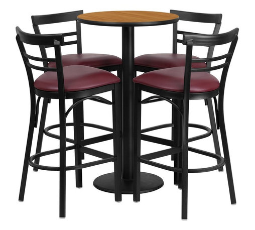 Flash Furniture - Flash Furniture Restaurant Furniture Table and Chairs X-GG-9301BRSR - 24'' Round Natural Laminate Table Set with 4 Ladder Back Metal Bar Stools - Burgundy Vinyl Seat [RSRB1039-GG]
