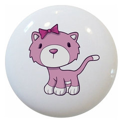 Carolina Hardware and Decor, LLC - Pink Kitten Ceramic Cabinet Drawer Knob - New 1 1/2 inch ceramic cabinet, drawer, or furniture knob with mounting hardware included. Also works great in a bathroom or on bi-fold closet doors (may require longer screws).  Item can be wiped clean with a soft damp cloth.  Great addition and nice finishing touch to any room.