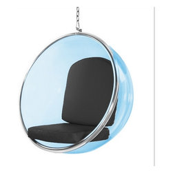 Lemoderno - Fine Mod Imports  Bubble Hanging Chair Blue Acrylic, Black - The blue transparent acrylic and chrome plated chair remains as cutting edge in its design, despite being created over 40 year's ago. Bubble Color is Transparent Blue With Polished Chrome Base    Assembly Required
