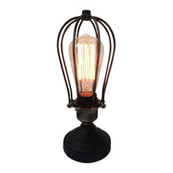 Westmenlights - Cage Bulbs Black Reading Lamp - Materials: Vintage Iron, Aged Steel