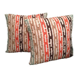 Coral, Blue & Tan Pillows - A Pair - This set of two handmade accent pillows features a vintage inspired striped pattern in orange, brown, tan, and light blue hues.  A colorful and geometric addition to any sofa.  We're jonesing for this pillow fix!