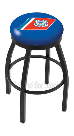 """Holland Bar Stool - Holland Bar Stool L8B2B - Black Wrinkle U.S. Coast Guard Swivel Bar Stool - L8B2B - Black Wrinkle U.S. Coast Guard Swivel Bar Stool w/ Accent Ring belongs to Military Collection by Holland Bar Stool Made for the ultimate sports fan, impress your buddies with this knockout from Holland Bar Stool. This contemporary L8B2B logo stool has a single-ring black wrinkle base with a 2.5"""" cushion and a black accent ring that helps the seat to """"pop-out"""" at glance. Holland Bar Stool uses a detailed screen print process that applies specially formulated epoxy-vinyl ink in numerous stages to produce a sharp, crisp, clear image of your desired logo. You can't find a higher quality logo stool on the market. The plating grade steel used to build the frame is commercial quality, so it will withstand the abuse of the rowdiest of friends for years to come. The structure is powder-coated to ensure a rich, sleek, long lasting finish. Construction of this framework is built tough, utilizing solid mig welds. If you're going to finish your bar or game room, do it right- with a Holland Bar Stool. Barstool (1)"""