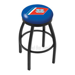 "Holland Bar Stool - Holland Bar Stool L8B2B - Black Wrinkle U.S. Coast Guard Swivel Bar Stool - L8B2B - Black Wrinkle U.S. Coast Guard Swivel Bar Stool w/ Accent Ring belongs to Military Collection by Holland Bar Stool Made for the ultimate sports fan, impress your buddies with this knockout from Holland Bar Stool. This contemporary L8B2B logo stool has a single-ring black wrinkle base with a 2.5"" cushion and a black accent ring that helps the seat to ""pop-out"" at glance. Holland Bar Stool uses a detailed screen print process that applies specially formulated epoxy-vinyl ink in numerous stages to produce a sharp, crisp, clear image of your desired logo. You can't find a higher quality logo stool on the market. The plating grade steel used to build the frame is commercial quality, so it will withstand the abuse of the rowdiest of friends for years to come. The structure is powder-coated to ensure a rich, sleek, long lasting finish. Construction of this framework is built tough, utilizing solid mig welds. If you're going to finish your bar or game room, do it right- with a Holland Bar Stool. Barstool (1)"