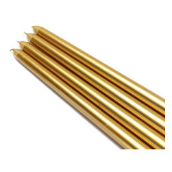 "Jeco - 12"" Metallic Gold Taper Candles - 1 Dozen"" - ""Elegant taper candles add sophistication to any party. We make our unscented tapers in a wide variety of vivid colors, sure to coordinate with your dining room, living room, or kitchen. Due to the nature of the dipping process involved in making taper candles, base size may vary. A candle shaper and/or wax candle fitters may be necessary to ensure a good fit into a standard holder. Dripless and Smokeless. Metallic candles have white inner wax with a metallic finish."