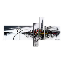 "Fabuart - "" Heart of the City"" - Black and White Cityscape Oil Painting- 63 x 33 In - This beautiful Art is 100% hand-painted on canvas by one of our professional artists. Our experienced artists start with a blank canvas and paint each and every brushstroke by hand."