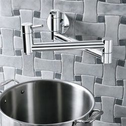 Blanco - Blanco 441194 Polished Chrome Cantata Polished Chrome Wall Mounted Pot - Cantata Blanco Polished Chrome Wall Mounted Pot Filler Introducing the newest addition to our professional-grade pot fillers, BLANCO CANTATA. Not only does this contemporary pot filler eliminate the hassles of carrying heavy pots sink to the stove, it adds an element of modern style to any kitchen.  Solid brass body 2.2 GPM flow rate Ceramic disc cartridge Dual shut-off valves Cold water only, non-mixing valve Lead Free Compliant