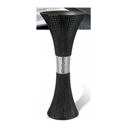 ORE International - 28 in. Contemporary Vase in Black - Simple sophisticated design. Centre of the vase encrypted with shattered glass molted together. Placing long stems of white cherry blossoms creates a lovely effect. Warranty: 30 days. Made from polyresin. No assembly required. 12 in. Dia. x 28 in. H (10 lbs.)