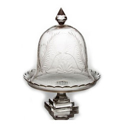 The Enchanted Home - Etched Cake Dome - An interesting hand cut fern design has been used to decorate this dome. A footed plate completes the look.