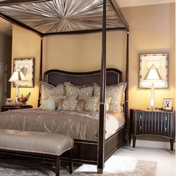 Tango Collection - Marge Carson's Tango Poster Bed and Nightstands. Also pictured are the Tango Bench and the Marge Carson Palisades Bedding.