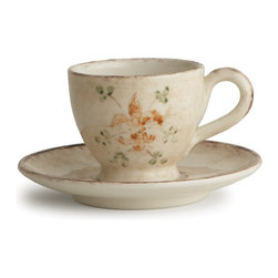 "Arte Italica - Medici Cup and Saucer - The perfect cup and saucer can transform your everyday breakfast into a special pleasure to savor. Hand made in Italy, this pretty pair features soft colors and a rustic pattern of vines and giglio — Italian for ""fleur-de-lis."" Enjoy!"