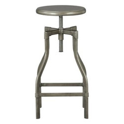 "Turner Gunmetal 24""–30"" Bar Stool - Industrial-chic seating with a vintage architectural look twists high for barstool or drafting table, low for dining or desk. Crafted in sheet and tubular metal enhanced by an oxidized black iron finish."