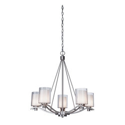 Artcraft Lighting - Five Light Nickel Candle Chandelier - The Andover Collection features a stunning polished nickel finish, complimented with a doube glass design. Interior glass is frosted white and outter glass is clear. The lamping inside is G9 50W, to deliver good bright light. (Availble in Oil Rubbed Bronze finish as well) - 5 Lite Chandelier