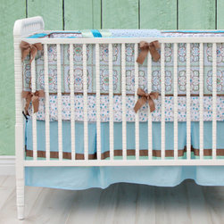 Caden Lane - Hayden Blue Vintage Crib Bedding - Moroccan inspired prints and intricately detailed geometric designs are what make the Hayden baby bedding set a timeless, otherworldly choice for a nursery.  Soft hues of aqua, mint green, teal and salmon are featured beautifully.