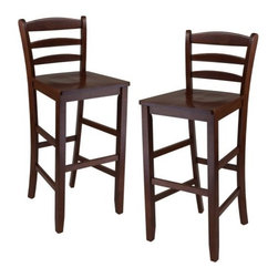 Winsome Ladder Back 29 in. Bar Stool - Set of 2 - Please note: This item is not intended for commercial use. Warranty applies to residential use only.