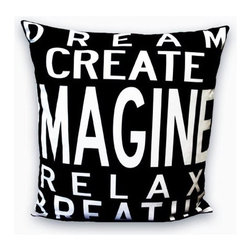 "Uptown Artworks - Imagine Pillow - Features: -Material: Natural cotton / linen. -We recommend spot-cleaning or wash in cool water with phosphate-free detergent. -Zipper closure, plush feather and down insert. -Made in the United States. -Eco-friendly. -Overall dimensions: 20"" H x 20"" W, 2 lbs."