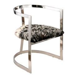 Stainless Steel Hide Chair - Just a hint of animal hide gives your space an eclectic vibe.