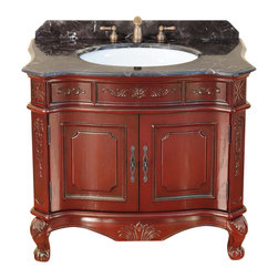 "Bosconi - 37"" Bosconi T-3803 Single Vanity - This Bosconi Classic Single Vanity is a 36 inch masterpiece. Emblazoned from top to bottom with intricately carved designs, featuring a large two-door cabinet for storing all essentials. This model also has a beautiful Dark Emperador Marble countertop complimented by rich Burgundy finish and Antique Brass hardware, to complete the entire look of Classic sophistication."
