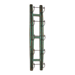 Wall Mounted Wine Rack - Showcase your vintage reds on this quirky wall mounted wine rack. The beautiful distressed wood goes well with the dainty metal handles. That aged Bordeaux is calling your name!