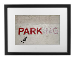 "PingoWorld - Banksy Parking (Park) - Custom Framed, 20""x16""x1.25"" - Banksy Parking (Park) street art. Artwork is produced on 100% cotton 315g. weight museum quality acid/lignin free art paper. Our expert craftsmen secure the artwork in a beautiful pine frame with foam core backing and matting."