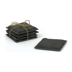Go Home - Set of Four Slate Coasters - Sleek and sophisticated, these naturally edged slate coasters are mounted onto velvet to protect counter tops and tables. Perfect for any occasion, use these coasters for all of your favorite beverages.