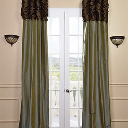 Ruched Thai Curtain - Chocolate Brown Header & Sea Blue Panel - We've taken our popular Thai Silk panels and added a ruched header valance creating the most luxurious, over the top style in window treatments out there. This style was designed and meant to be stationary and used as decorative panels to frame out your window. Choose from a pre-designed collection or Create Your Own.