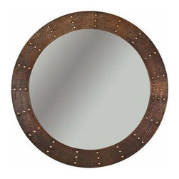"Premier-Copper-Products - 34"" Round Copper Mirror with Forged Rivets - MFR3434-RI Premier Copper Products 34 Inch Hand Hammered Round Copper Mirror with Hand Forged Rivets"