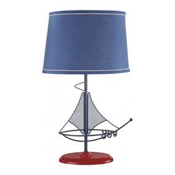 Coastal/Tropical Style - Ashley Furniture's blue and red boat motif metal table lamp. Oval shade. On/off switch. Type A light bulb 60 watts max or CFL 13 watts max. 1/carton (ashL855714)