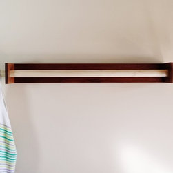 Modern Towel Rack With Coat Hooks in Danish Style by Mod-Rak - Towel Rack also works as a clothing rack with 2 coat hooks. Large 2 towel model. Made of reclaimed walnut with a poplar hardwood rod. Inspired by Mid Century Modern furniture and Danish design.