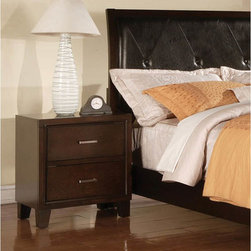 None - Espresso Finish Nightstand - Add a stylish touch to your bedroom with this nightstand. An espresso finish and two-drawer design complete this nightstand.