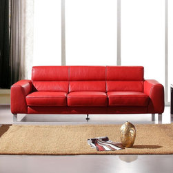 Marthena Home Furnishings - Sofa Amelia Full Length Couch - 216SF - Upholstered in top grain leather from Italy.
