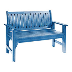 C.R. Plastic Products - C.R. Plastics Garden Bench In Blue - Can be used for residential or commercial use, Ergonomically designed, Heavy 78 gauge plastic lumber 12 used by competitors, All stainless steel hardware, No painting, No slivers, No Rot, Completely waterproof