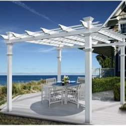 New England Venetian 10 x 10-ft. Vinyl Pergola - Imagine relaxing with friends in your hot tub underneath the open roof of this stunning white pergola. The New England Venetian 10 x 10-ft. Vinyl Pergola will be the cool place to be on warm summer nights or the hot topic spread around the neighborhood. The classic straight-slat roof and molded posts give the pergola a comfortable style that can be either formal or casual. The thick sturdy posts measure 5L x 5W inches. The bright white finish will refresh your outdoor setting with its crisp clean appearance. An arrangement of patio chairs and potted plants will further increase the appeal of the pergola allowing you to welcome family into your peaceful outdoor sanctuary. Because the Venetian Pergola is crafted with premium high-grade vinyl it's virtually maintenance-free which frees you up to do more entertaining and less maintaining. A smart and attractive alternative to wood this material will not fade over time and will never need painting. An occasional rinse with a garden hose is all you'll need to do to keep the pergola looking in tip-top shape. Because this pergola carries a 20-year manufacturer's warranty you'll be able to enjoy its refreshing beauty for years to come. Assembly is required. The pergola kit comes with detailed illustrated instructions and all necessary components. It will take approximately 8 hours for two people to assemble. You can add privacy panels decorative arches and an extra shade kit to this pergola for an even more impressive design. For extra stability you might also consider the bolt-down bracket system. Panels arches shade kits and bracket systems are sold separately. About New England ArborsThe world's leading manufacturer of premium vinyl arbor kits New England Arbors was founded in a simple barn in the late 1990's. There the founders began replicating the beauty of New England design with simple low-maintenance vinyl materials. The business has grown since then now supplying arbors pergolas and trellises all over America and beyond. With headquarters in Port Huron Mich. and Sarnia Ontario in Canada New England Arbors is dedicated to the creation of the most attractive and durable vinyl arbors possible.