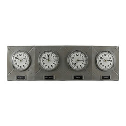 Cooper Classics - Terminal Gray and Black Clock - - Keep track of different time zones with the Terminal clock. This handsome wall clock features 4 separate plastic encased clocks with labels. The gray metal finish with black highlights complete this stylish clock  -This clock is battery Operated using 1 AA Battery (not included) and features Quartz movement inside  - Glass face dimensions not including frame: 5.75-Inches W x 5.75-Inches H  - For cleaning, we recommend using a dry, soft cloth Cooper Classics - 40723