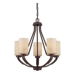 Berkley 5 Light Chandelier - Berkley will add warmth to your home with its warm transitional styling. This stylish collection has a rich Heritage Bronze finish, hammered details, and Hand painted Cream glass, making it perfect for today's casual lifestyle.