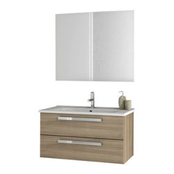 ACF - 33 Inch Larch Canapa Bathroom Vanity Set - Set Includes: Vanity Cabinet (2 Drawers), high-end fitted ceramic sink, wall mounted vanity mirror. Vanity Set Features: Vanity cabinet made of engineered wood. Cabinet features waterproof panels. Vanity cabinet in style oak finish. Cabinet features 2 sof