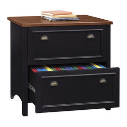Bush - Lateral File in Antique Black - File away your personal and business documents in style with this two drawer file cabinet.  This offering is finished in a simple antique black to allow it to blend in to almost any room.  The two file drawers allow for storage of letter and legal documents.  The cherry finish of the cabinet top is perfect for storage of your current favorite novel or a report you are editing.  It is desk height so you can use it as extra work space. * Lateral File in Antique Black is an attractively designed office furniture piece. Unit is  a wonderful addition to a kitchen, den or home office.. Antique Black w Hansen Cherry finish. Height matches Desk for extended work surface when positioned side-by-side. Smooth, full-extension drawer slides allow easy file access. Accommodates letter, legal or A4-sized files. Interlocking drawer mechanism reduces likelihood of tipping. Coordinating entertainment furniture available. 31.890 in. W x 20.669 in. D x 30.724 in. H