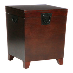 Holly & Martin - Dorset Trunk End Table, Espresso - Neat and functional, this handy wooden side table and trunk hides your clutter in a jiffy and never complains about feeling too stuffed. Such a good little table.