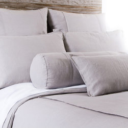 """Pom Pom at Home - Pom Pom at Home Louwie Flax Duvet Cover - Pom Pom at Home's bedding and accessories lend lived-in elegance to everyday experiences.�� The classic Louwie duvet cover delivers a sophisticated design to a bedroom. Two center flanges accent its soft and textured flax brown organic linen, offering a tailored aesthetic. Available in twin, queen and king sizes. Machine washable. Insert not included. Twin: 68""""W x 88""""H. Queen: 88""""W x 88""""H. King: 90""""W x 104""""H. 0.5""""W flange."""
