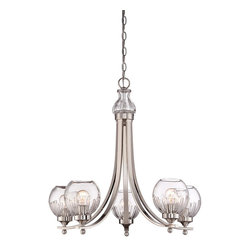 Savoy House Lighting - Savoy House Lighting 1-240-5-109 Camden 5-Light Chandeliers in Polished Nickel - The Raymond Waites-designed Savoy House Camden collection of chandeliers is a standout contemporary style thanks to the use of elegant clear crystal cut glass shades. Sleek and streamlined arms finished in Polished Nickel complete the look.