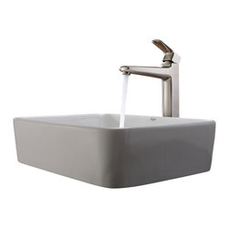 Kraus - Kraus White Rectangular Ceramic Sink and Virtus Faucet Brushed Nickel - *Add a touch of elegance to your bathroom with a ceramic sink combo from Kraus
