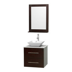"""Wyndham Collection - Centra Bathroom Vanity in Espresso,WT  Carrera Top,Pyra White Sink,24"""" Mir - Simplicity and elegance combine in the perfect lines of the Centra vanity by the Wyndham Collection. If cutting-edge contemporary design is your style then the Centra vanity is for you - modern, chic and built to last a lifetime. Available with green glass, pure white man-made stone, ivory marble or white carrera marble counters, with stunning vessel or undermount sink(s) and matching mirror(s). Featuring soft close door hinges, drawer glides, and meticulously finished with brushed chrome hardware. The attention to detail on this beautiful vanity is second to none."""