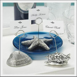 Sea Life Place Card Holder - Seashell place card holders in a pretty burnished silver would wake up any table.