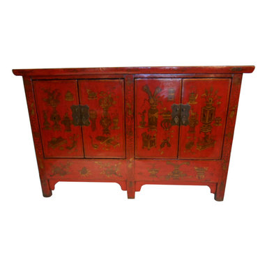 Five Legged Oriental Red Lacquer Cabinet Hand Painted Chinoiserie - Deep red lacquer is built up by applying twelve coats over this Elm wood antique reproduction .This cabinet is hand painted with simple Asian flower and vase still life designs. These lacquered chests are used for a variety of uses, as storage, entertainment center, buffet or dresser. They are handmade of Solid wood and made in China using old world Chinese wood joinery techniques and age old lacquer techniques. No two are exactly the same because they are handmade. These chests come with a false bottom inside that offer secret storage inside behind the doors. We collected these in northern China and have only a limited supply. Simple Ming feet with rich red lacquer antique patina, and richly grained elm wood top will add an Asian flair to any room decor. These are slightly distressed and made of recycled lumber.
