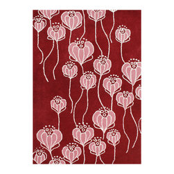 Alliyha Rugs - True Red Transitional Rug - Alliyah Handmade New Zealand Blend Wool Rug With True Red, Flamingo Pink, Ivory Color. Antique Washed.